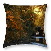 Autumn Country Bridge Throw Pillow