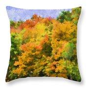 Autumn Country On A Hillside II - Digital Paint Throw Pillow