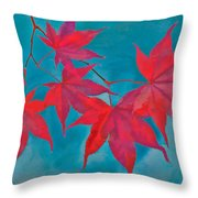 Autumn Crimson Throw Pillow by William Jobes