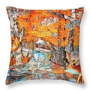 Autumn Deer Birch Background Throw Pillow