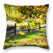 Autumn Fence Throw Pillow
