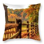 Autumn Fence Posts Scenic Throw Pillow