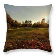 Autumn Field With Sheep Throw Pillow