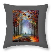 Autumn Fog 4 - Palette Knife Oil Painting On Canvas By Leonid Afremov Throw Pillow