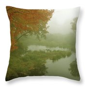 Autumn Fog Millers River Throw Pillow