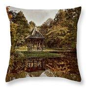 Autumn Gazebo Reflection Throw Pillow