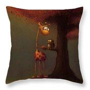 Autumn Giraffe Throw Pillow