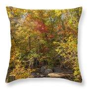 Autumn Glory - Unami Creek Sumneytown Pennsylvania Usa Throw Pillow