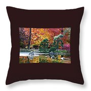 Autumn Glow In Manito Park Throw Pillow