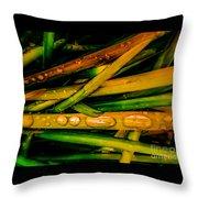 Autumn Grassy Rain Drops Throw Pillow