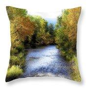 Autumn Harvest Along The River Throw Pillow