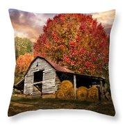 Autumn Hay Barn Throw Pillow