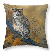 Autumn Highlights - Great Horned Owl Throw Pillow