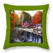 Autumn House At The Falls Throw Pillow