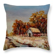 Autumn House By The Stream Throw Pillow