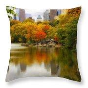 Autumn In Central Park Throw Pillow