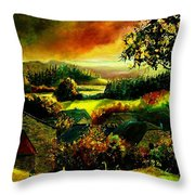 Autumn In Our Village Ardennes Throw Pillow