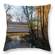 Autumn In Valley Forge - Knox Covered Bridge Throw Pillow