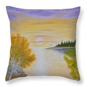 Autumn Lake Sunset  Throw Pillow