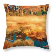 Autumn Landscape With Fox Throw Pillow