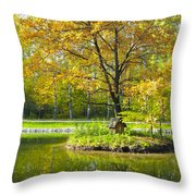 Autumn Landscape With Red Tree Throw Pillow