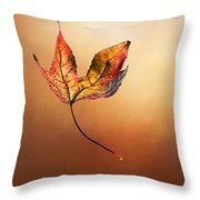 Autumn Leaf Falling By Kaye Menner Throw Pillow