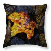 Autumn Leaf On Ground Throw Pillow