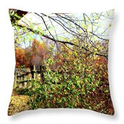 Autumn Leaves Against A Fence Throw Pillow