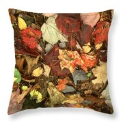 Colorful Autumn Leaves In Blue Green Red Yellow Orange Throw Pillow