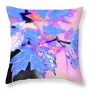 Autumn Leaves In Blue Throw Pillow