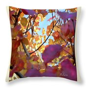 Autumn Leaves In Blue Sky Throw Pillow