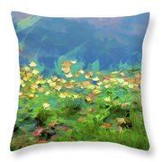 Brown Leaves Scattered Throw Pillow