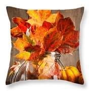 Autumn Leaves Still Life Throw Pillow by Amanda Elwell