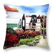 Autumn Lighthouse Miramichi New Brunswick Canada Throw Pillow