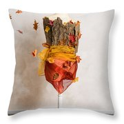 Autumn Mannequin With Falling Leaves Throw Pillow