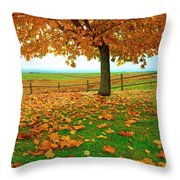 Autumn Maple Tree And Leaves Throw Pillow
