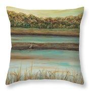 Autumn Marsh And Bird Throw Pillow