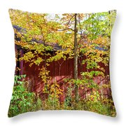 Autumn Michigan Barn  Throw Pillow