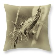 Autumn Milkweed 7 - Sepia Throw Pillow