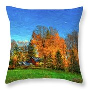 Autumn Moon Rising Throw Pillow