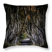 Autumn Morning At Dark Hedges Alley  Throw Pillow