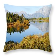 Autumn Morning At Oxbow Bend Throw Pillow