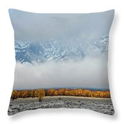 First Autumn Snow In The Mountains Throw Pillow