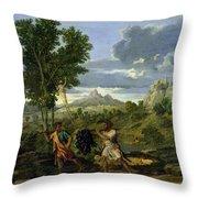 Autumn Throw Pillow by Nicolas Poussin