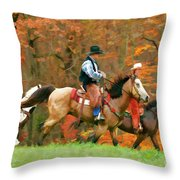 Autumn On Horseback Throw Pillow