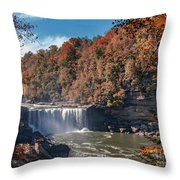 Autumn On The Cumberland  Cumberland Falls Throw Pillow