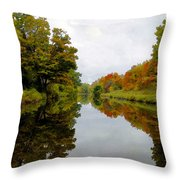 Autumn On The Erie Canal Throw Pillow