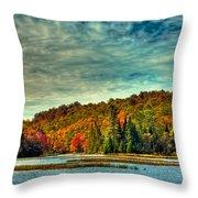 Autumn On The Moose River In Thendara Throw Pillow