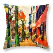 Autumn On The Streets Of Boston Throw Pillow