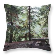 Autumn Picnic In The Woods  Throw Pillow